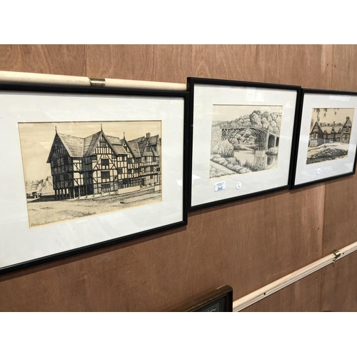 262 - A GROUP OF THREE FRAMED PICTURES TO INCLUDE 'ROWLEY'S MANSION, SHREWSBURY', AND TWO FURTHER PICTURES...