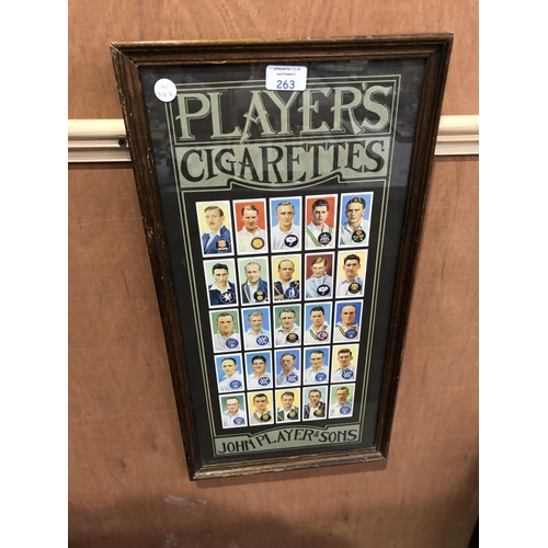 263 - A FRAMED 'PLAYERS' CIGARETTES VINTAGE CRICKET CIGARETTE CARD MONTAGE...