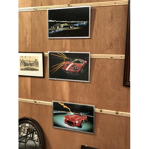 265 - THREE FRAMED RACING / SPORTS CAR PICTURES (3)...