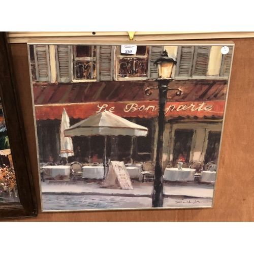268 - A FRAMED PARISIAN SCENE PICTURE OF A CAFE...