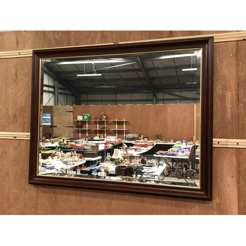 269 - A RECTANGULAR LARGE MAHOGANY MODERN FRAMED WALL MIRROR 85 X 110CM...