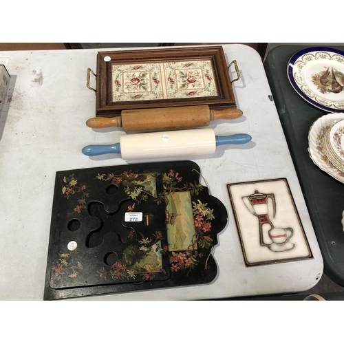 272 - A MIXED GROUP OF ITEMS TO INCLUDE A DECORATIVE OAK DRINKS TRAY WITH AESTHETIC TWO TILE DESIGN, LACQU...