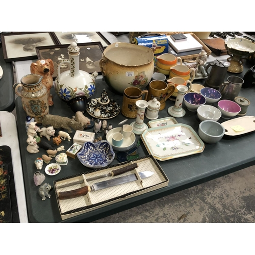 273 - A LARGE MIXED GROUP OF CERAMICS TO INCLUDE A GRADUATED SET OF ART DECO STYLE 'GRAYS' POTTERY JUGS, F...