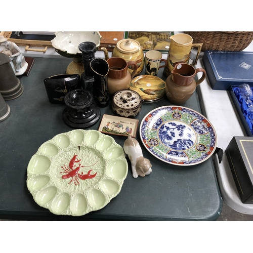 274 - A LARGE MIXED COLLECTION OF VARIOUS CERAMICS AND GLASS TO INCLUDE A CARLTON WARE LOBSTER PLATE, WEST...