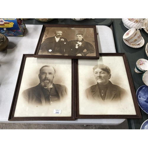 282 - THREE OAK FRAMED VINTAGE PORTRAIT PICTURES, ALL MOUNTED AND FRAMED BY 'MILBORNE BROS, MANCHESTER' (3...