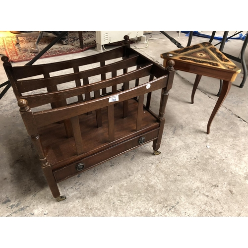 288 - A DECORATIVE INLAID TRIANGULAR GAMES TABLE TOGETHER WITH FURTHER MAHOGANY MAGAZINE RACK / TROLLEY WI...