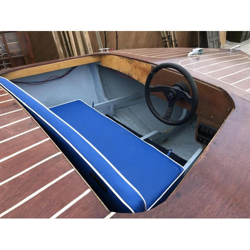 52 - A GOOD QUALITY 'RIVA' STYLE MARINE PLY SPEED / POWER BOAT - 12 FEET LONG AND AN AS NEW, SINGLE AXLE ...