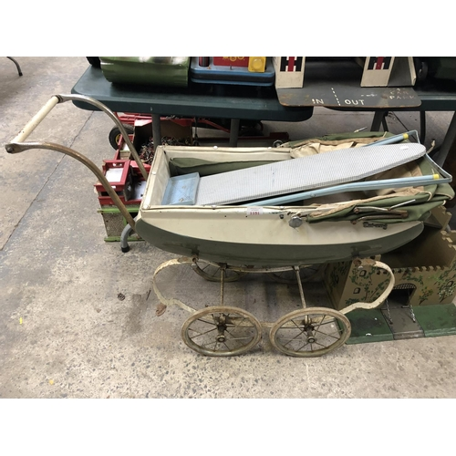 1151 - A VINTAGE 'TRI-ANG' CHILD'S PRAM TOGETHER WITH FOLD-OUT VINTAGE MINIATURE IRONING BOARD (2)...