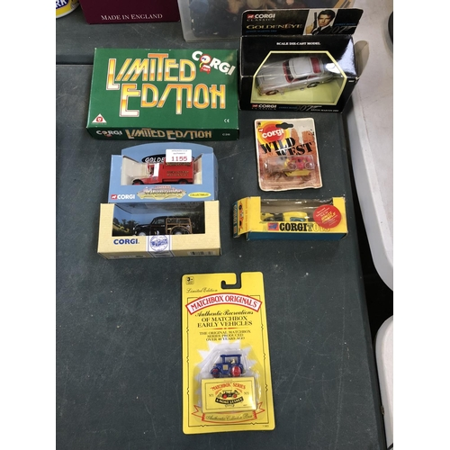 1155 - A GROUP OF SEVEN VARIOUS BOXED ITEMS TO INCLUDE A VINTAGE 'CORGI' TOYS 'FERRARI 206 DINO SPORT, NO. ...