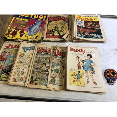 1158 - A MIXED COLLECTION OF VARIOUS VINTAGE MAGAZINES TO INCLUDE 'BEANO', 'DANDY', 'WARLORD' ETC, (QTY)...