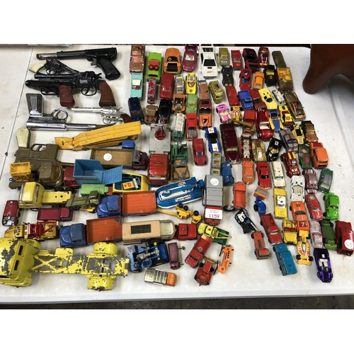 1159 - A LARGE MIXED GROUP OF VARIOUS LOOSE VINTAGE METAL DIE-CAST MODELS TO INCLUDE 'TONKA', 'A LESNEY' ET...