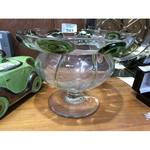 543 - AN ARTS AND CRAFTS STYLE GLASS PEDESTAL BOWL VASE WITH GREEN APPLIED ROUNDELS...