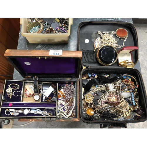 544 - TWO JEWELLERY BOXES CONTAINING A LARGE QUANTITY OF VARIOUS ITEMS OF COSTUME JEWELLERY TO INCLUDE BAN...