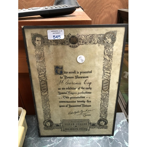 545 - A VINTAGE FRAMED SILVER JUBILEE FOR 'ADOLF ZUKOR OF PARAMOUNT PICTURES'...