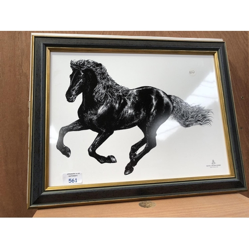 561 - A ROYAL CROWN DERBY BOXED CERAMIC WALL PLAQUE, TITLED 'EQUUS GALLOP'...