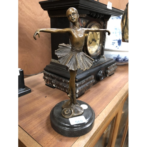 569 - A BRONZE MODEL OF A BALLERINA GIRL ON MARBLE BASE, SIGNED 'MILS', HEIGHT 28CM...