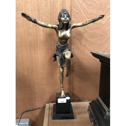 570 - A LARGE ART DECO STYLE BRONZE FIGURE OF A NUDE LADY WITH ARMS OUTSTRETCHED TO BLACK MARBLE BASE, HEI...