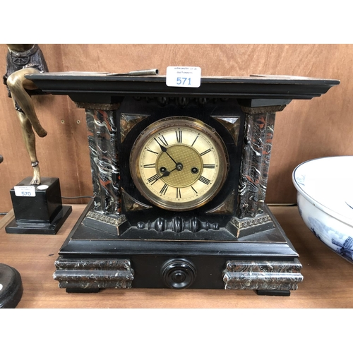571 - A DECORATIVE MARBLE EFFECT EBONISED WOODEN CHIMING MANTLE CLOCK...