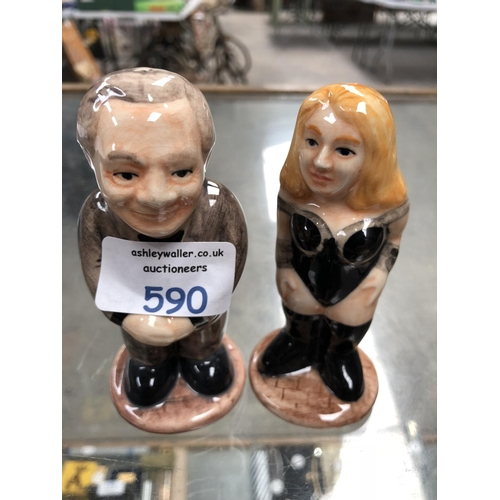 590 - TWO NOVELTY 'HP' CERAMIC SALT AND PEPPER SHAKERS OF A LADY AND A GENTLEMAN (2)...