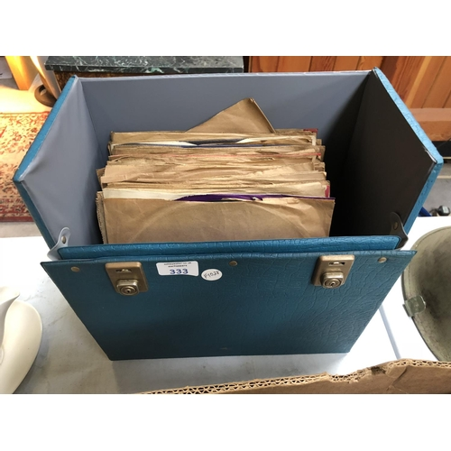 333 - A RECORD STORAGE BOX TOGETHER WITH VARIOUS RECORDS TO INCLUDE 'COLUMBIA' EXAMPLES ETC (QTY)...