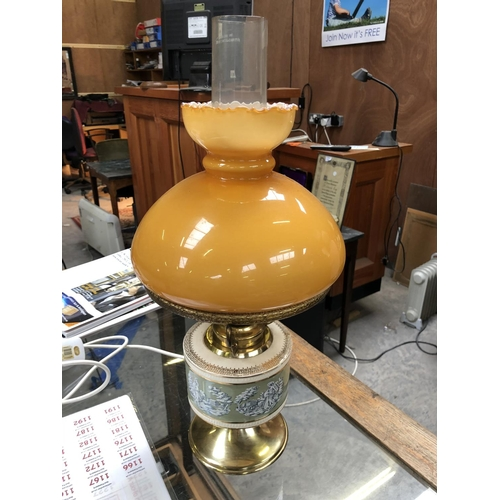 334 - A VINTAGE STYLE ELECTRIC LAMP WITH AMBER GLASS SHADE AND FURTHER GLASS FUNNEL...