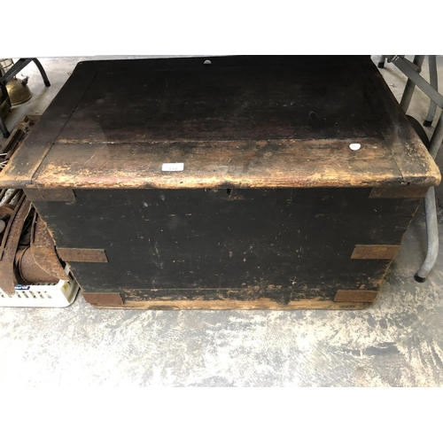 337 - A VINTAGE PINE METAL BOUND BEDDING CHEST...