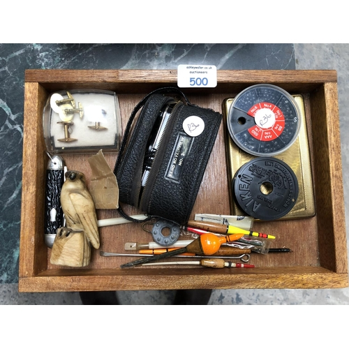 500 - A SMALL BOX CONTAINING VARIOUS ITEMS TO INCLUDE FISHING HOOKS, BINOCULARS, PEN KNIFE, CUFFLINKS ETC ...
