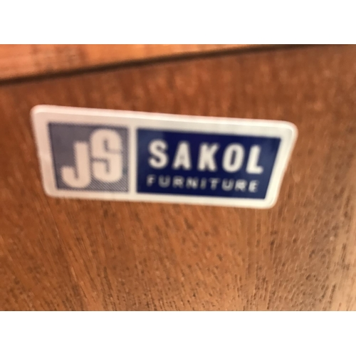 625 - A J S SAKOL RETRO TEAK CABINET WITH TWO LOWER DOORS AND TWO UPPER GLAZED DOORS...