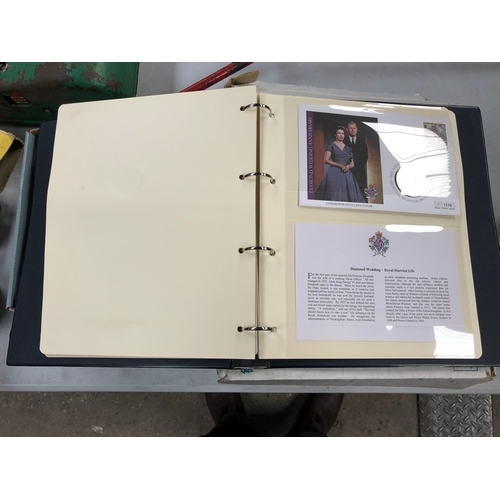 493 - THE DIAMOND WEDDING ANNIVERSARY COIN COVER COLLECTION ( 9 IN TOTAL ) , HOUSED IN THE SPECIAL BINDER...