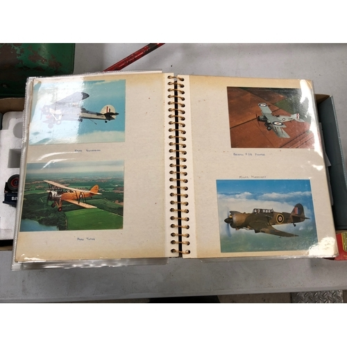 495 - A POSTCARD ALBUM WITH AN AVIATION THEME , MANY RELATING TO THE SECOND WORLD WAR . ALSO A SELECTION O...