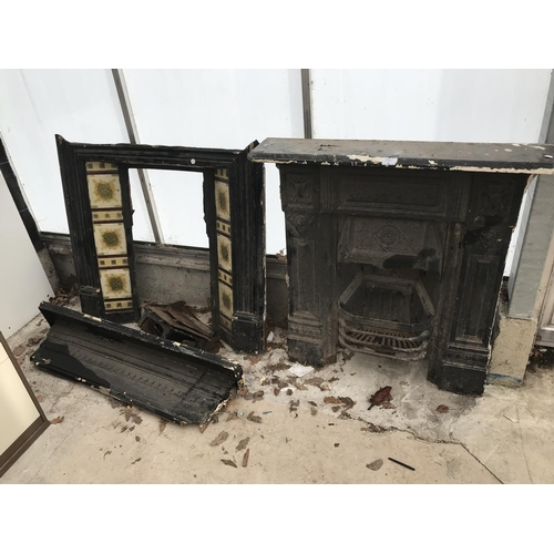 1 - TWO CAST IRON FIREPLACES, ONE WITH TILED SIDE PANELS...