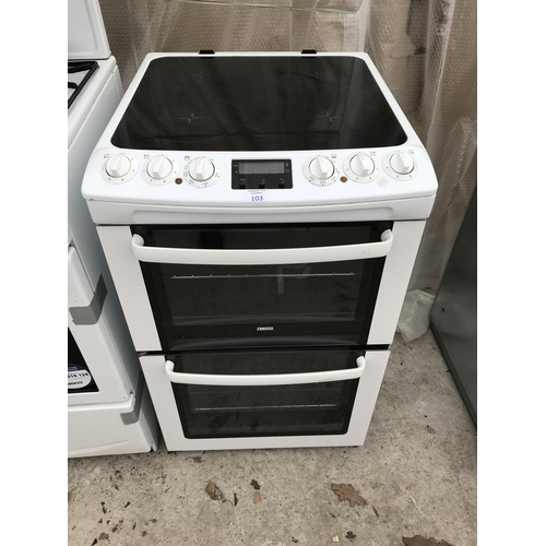 103 - A ZANUSSI ELECTRIC COOKER WITH CERAMIC HOB AND DOUBLE OVEN...