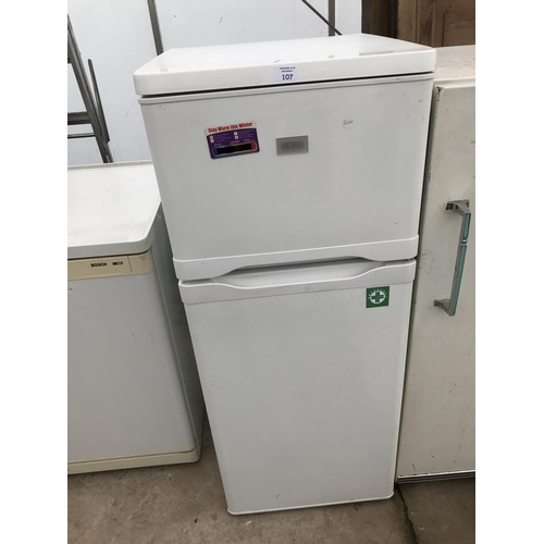 107 - A ZANUSSI FRIDGE FREEZER W/O...