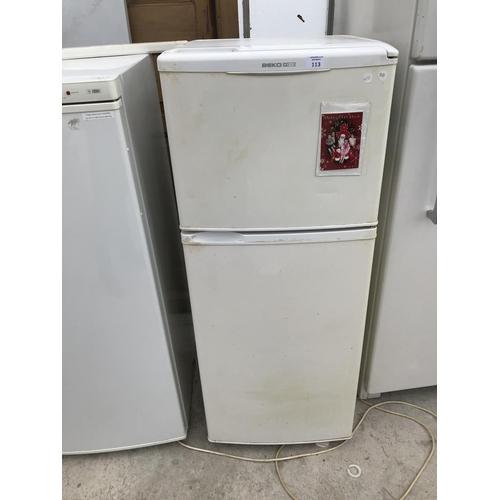 113 - A BEKO FRIDGE FREEZER W/O...