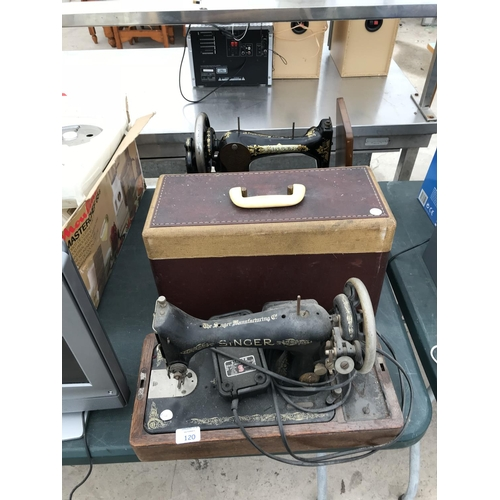 120 - TWO VINTAGE SINGER SEWING MACHINES W/O -POWERS UP...