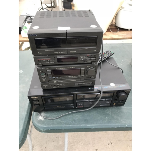 123 - A SONY MHC1600 MINI HIFI COMPONENT SYSTEM AND AN AIWA AD-F410 CASSETTE DECK W/O...