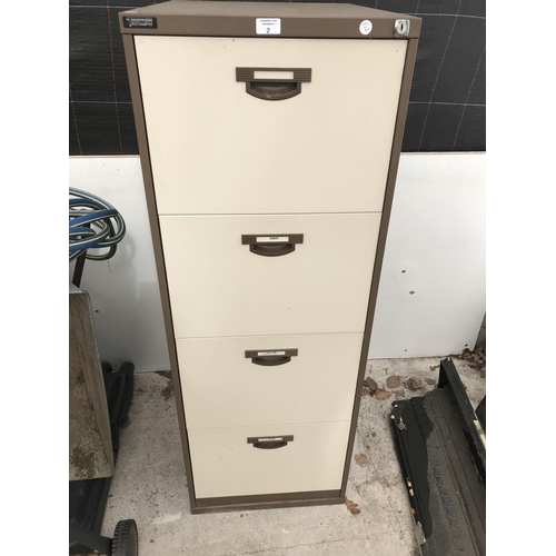 2 - A VINTAGE 'TRIUMPH' METAL FOUR DRAWER FILING CABINET...