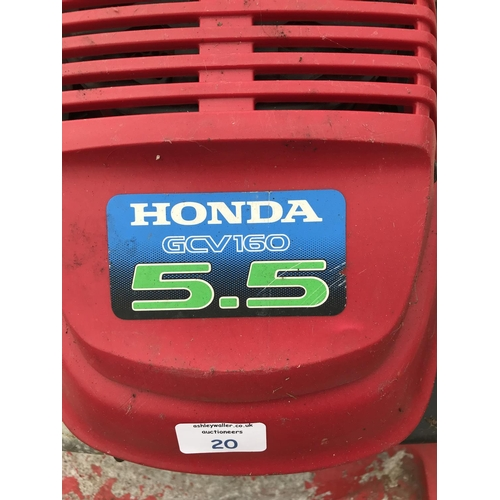 20 - A HONDA GCV160 PETROL ROTARY LAWNMOWER W/O...