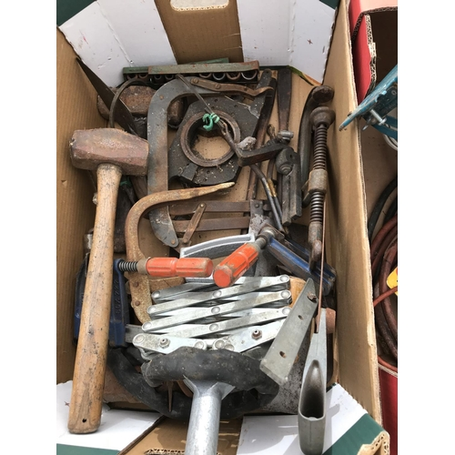 27 - FIVE BOXES CONTAINING VARIOUS TOOLS TO INCLUDE A JIGSAW, ANGLE GRINDER, HAMMERS, SOCKETS, WEIGHTS ET...