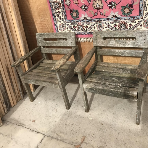 42 - A WOODEN GARDEN TABLE, BENCH AND TWO CHAIRS...
