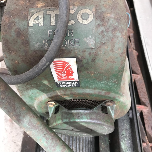 49 - AN ATCO PETROL CYLINDER MOWER WITH 30 INCH CUT, FOUR STROKE ENGINE, RIDE ON ROLLER SEAT AND GRASSBOX...