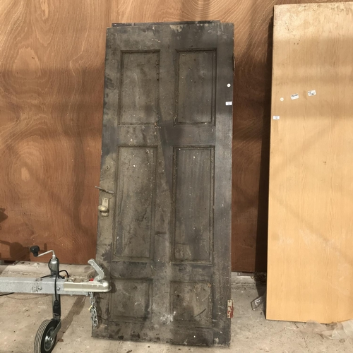 51 - TWO VINTAGE EXTERIOR WOODEN DOORS COMPLETE WITH HARDWARE ONE 33