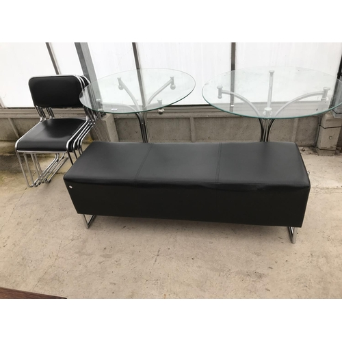 607 - TWO GLASS TOPPED TABLES ON CHROME SUPPORTS. FOIR CHROME AND BLACK LEATHERETTE CHAIRS AND A BLASCK LE...