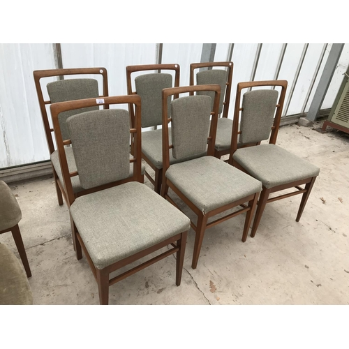 616 - SIX RETRO TEAK DINING CHAIRS...