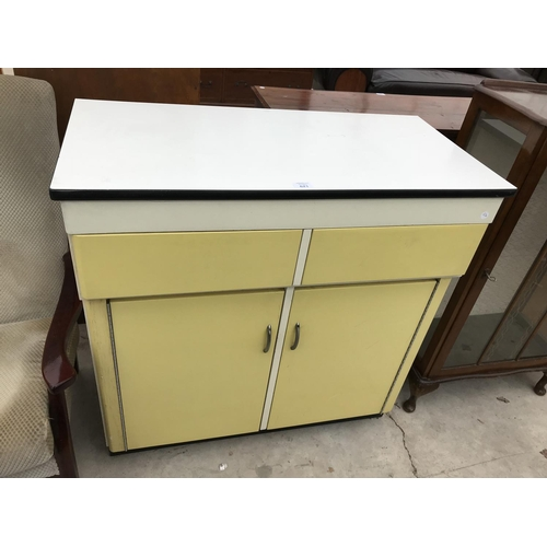 621 - A RETRO KITCHEN CUPBOARD WITH TWO DOORS AND TWO DRAWERS...