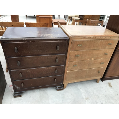 628 - TWO OAK CHESTS OF FOUR DRAWERS...