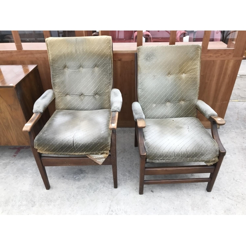 638 - TWO RETRO CINTIQUE UPHOLSTERED ARMCHAIRS...