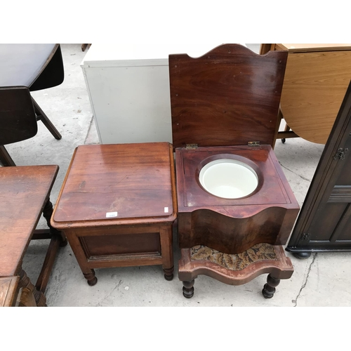 644 - TWO MAHOGANY COMMODES...