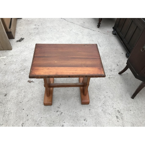 646 - A MAHOGANY DRUM TABLE WITH RED LEATHER TOP, AN OAK CORNER TABLE AND A SMALL PINE TABLE...