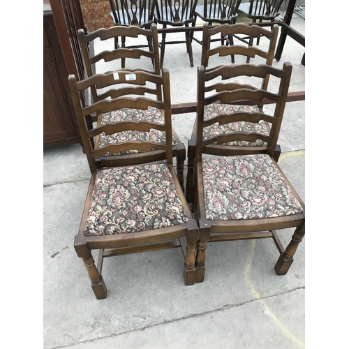 656 - FOUR MAHOGANY LADDERBACK DINING CHAIRS...